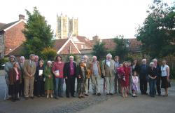 Guests at the launch assembled on the site of St Paul in the Bail